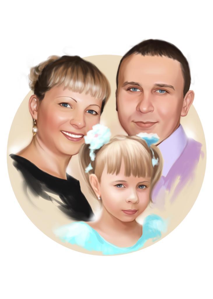 Семейный портрет по фото на холсте в Санкт-Петербурге — правильный подарок!