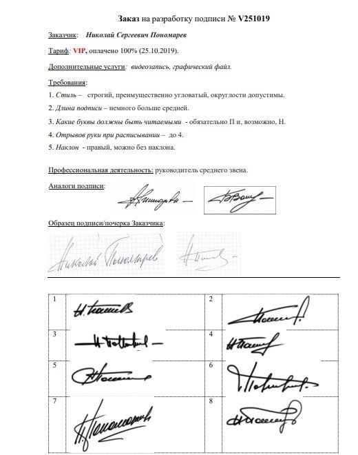 Разработка личной подписи онлайн Санкт-Петербург